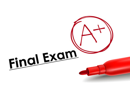 exams: close-up look of A plus grade over final exam paper