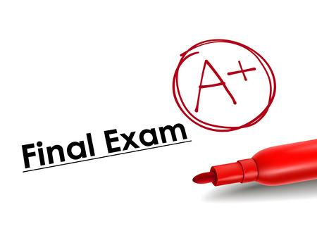 close-up wygląd A plus klasy na papierze egzaminu końcowego Ilustracje wektorowe