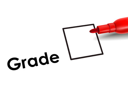 unrated grade box on an exam paper with red pen Vector