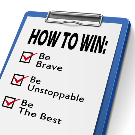accomplish: how to win clipboard with check boxes marked for the words be brave, unstoppable and the best