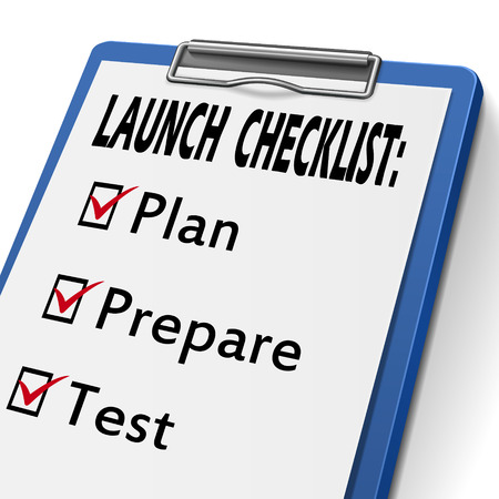 prepare: launch checklist clipboard with check boxes marked for plan, prepare and test