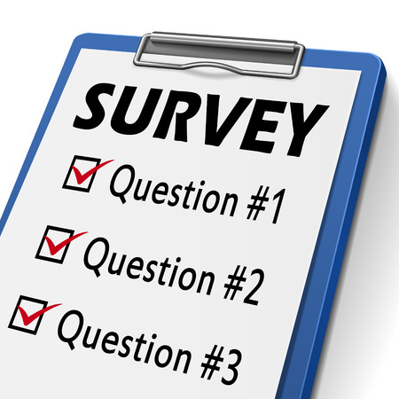 sporting event: survey clipboard with check boxes marked for question one, two and three Illustration