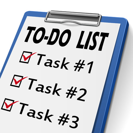 to do list clipboard with check boxes marked for task one, two and three Illustration