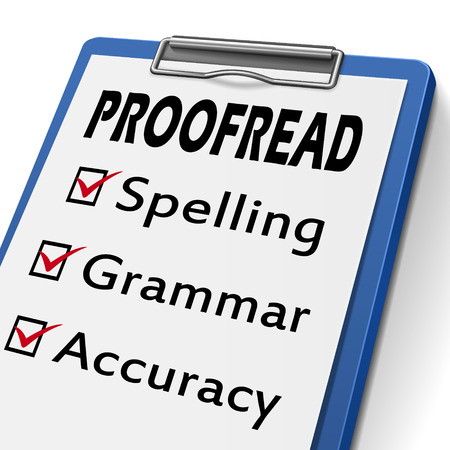 proofread clipboard with check boxes marked for spelling, grammar and accuracy Illustration