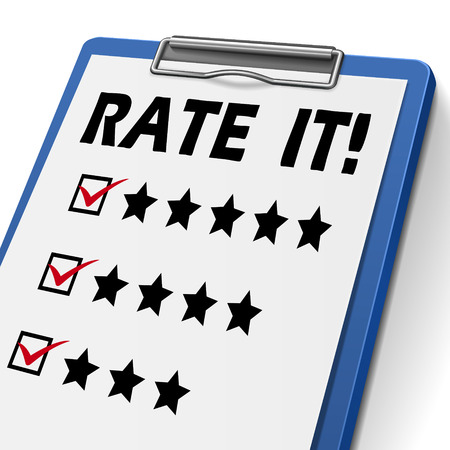 soliciting: rate it clipboard with check boxes marked for stars
