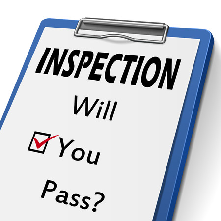 inspected: inspection clipboard with check boxes marked for will you pass