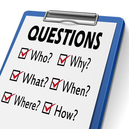 marked boxes: questions clipboard with check boxes marked for who, why, what, when, where and how