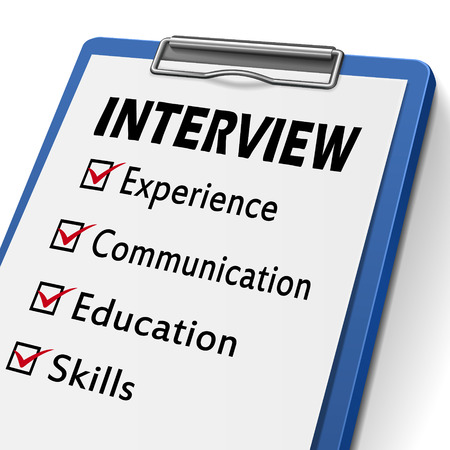 marked boxes: interview clipboard with check boxes marked for experience, communication, education and skills