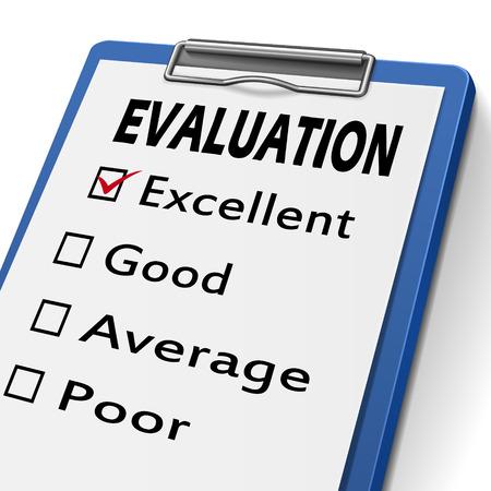 evaluacion: portapapeles evaluación con casillas de verificación marcada para excelente, buena, regular y mala