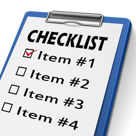 evaluated: checklist clipboard with check boxes marked for item one, two, three and four
