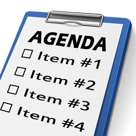 agenda: agenda clipboard with check boxes marked for item one, two, three and four