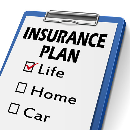 life plan: insurance plan clipboard with check boxes marked for life, home and car