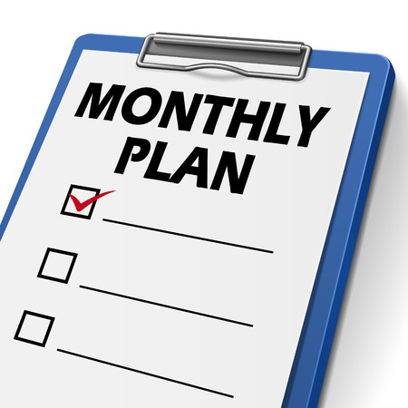 compliant: monthly plan clipboard with check boxes on it
