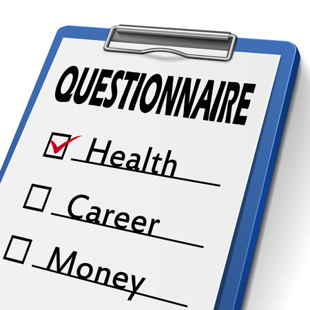 interrogate: questionnaire clipboard with check boxes marked for health, career and money