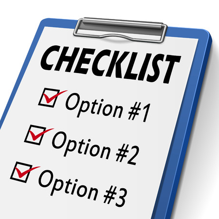 evaluated: checklist clipboard with check boxes marked for option one, two and three