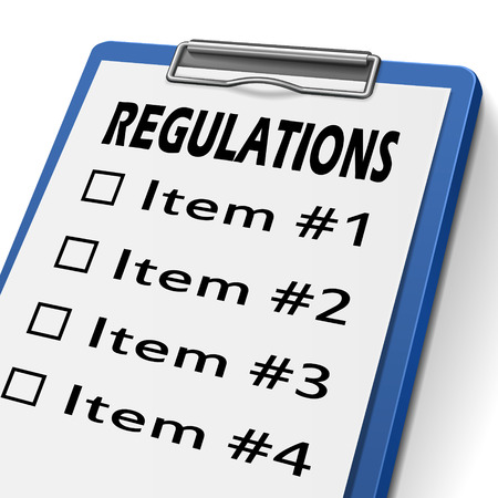 compliant: regulations clipboard with check boxes marked for item one, two, three and four