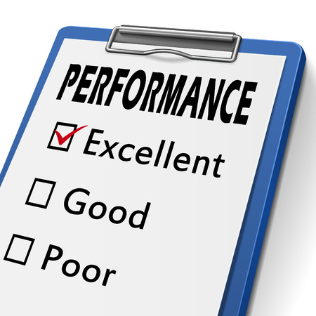 in amazement: performance clipboard with check boxes marked for excellent, good and poor