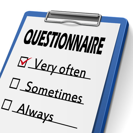 interrogate: questionnaire clipboard with check boxes marked for very often, sometimes and always Illustration