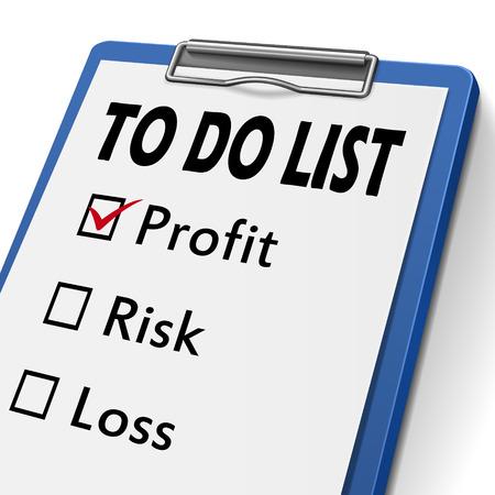 profit and loss: per fare la lista appunti con caselle di controllo marcata per il profitto, il rischio e la perdita di