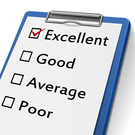 우수함, 좋음, 보통 및 나쁨으로 표시된 확인란이있는 클립 보드