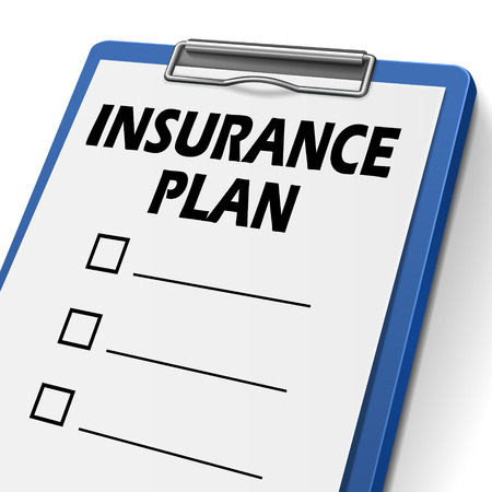 insurance plan clipboard with check boxes on it Vector