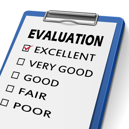 soliciting: evaluation clipboard with check boxes marked for excellent, very good, good, fair and poor