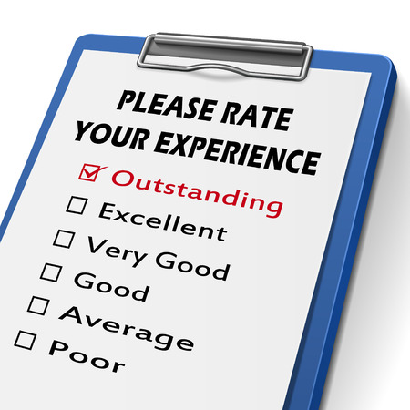 soliciting: please rate your experience clipboard with check boxes marked for different levels on it Illustration