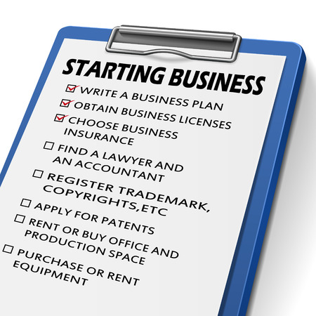 starting a business: starting business clipboard with check boxes marked for commerce concepts Illustration