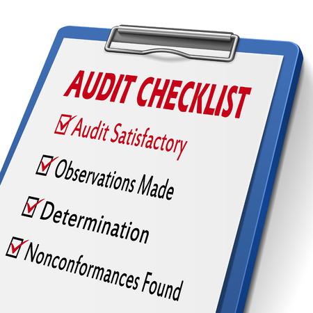 audit checklist klembord met selectievakjes gemarkeerd voor verwante concepten Stock Illustratie