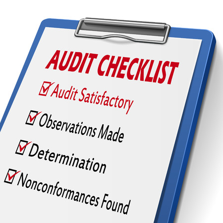 audit checklist clipboard with check boxes marked for related concepts Illustration