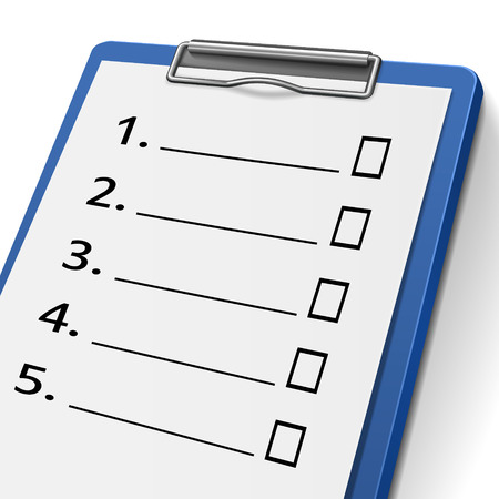 evaluated: blank checklist clipboard with check boxes on it