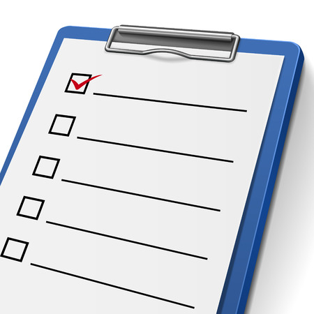 blank checklist clipboard with check boxes on it Vector