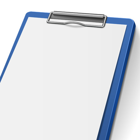 clipboard isolated: close-up of blank clipboard isolated on white background Illustration