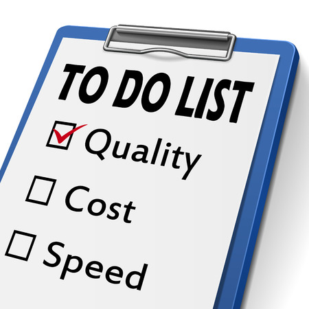 quality management: to do list clipboard with check boxes marked for quality, cost and speed Illustration