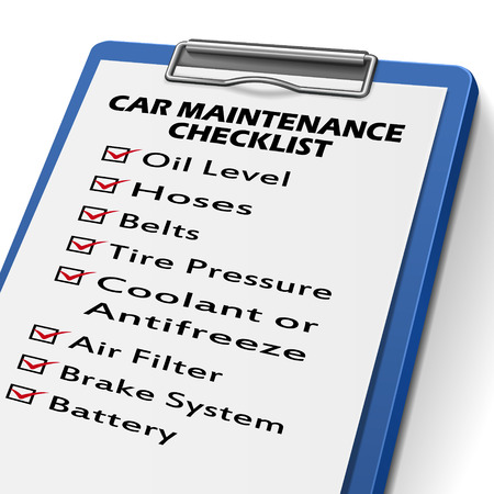car maintenance checklist clipboard with check boxes marked for equipments of car Illustration
