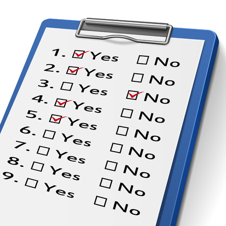 evaluated: checklist clipboard with check boxes marked for yes and no