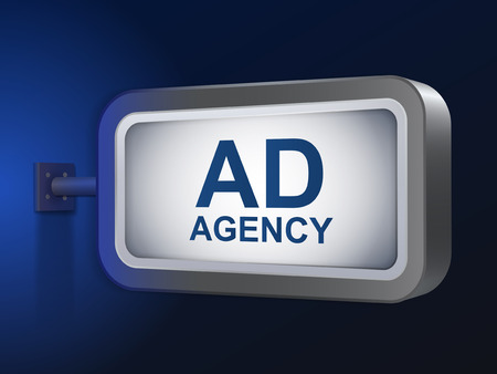 ad agency words on billboard over blue background Vector
