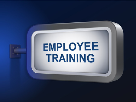 career coach: employee training words on billboard over blue background Illustration