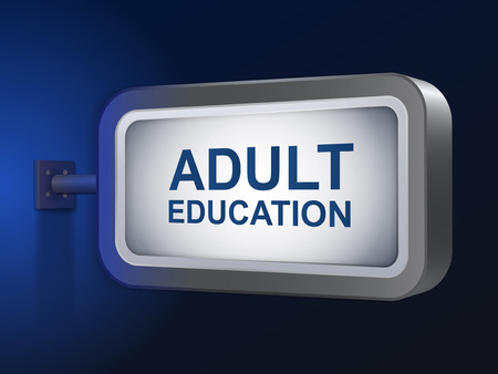 adult education words on billboard over blue background Vector