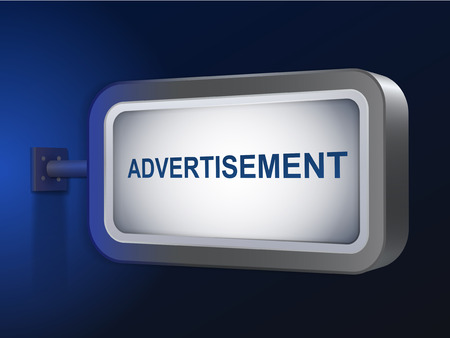 advertisement word on billboard over blue background Vector