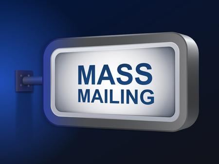 mailing: mass mailing words on billboard over blue background Illustration
