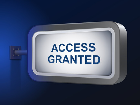 ratify: access granted words on billboard over blue background