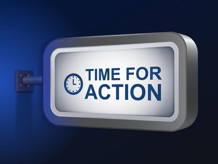 activism: tiempo de las palabras de acci�n en la cartelera sobre fondo azul