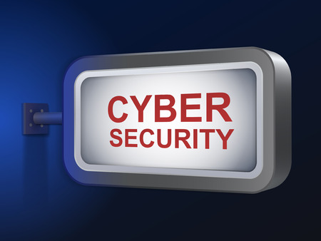 cyber security: cyber security words on billboard over blue background
