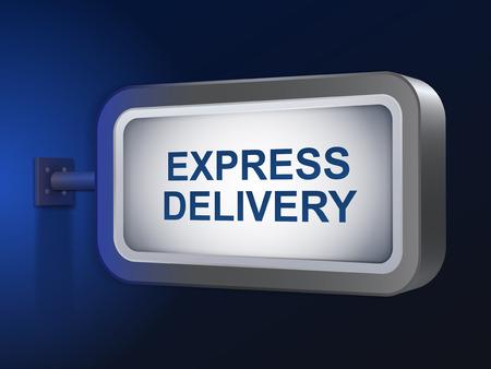 express delivery: express delivery words on billboard over blue background Illustration