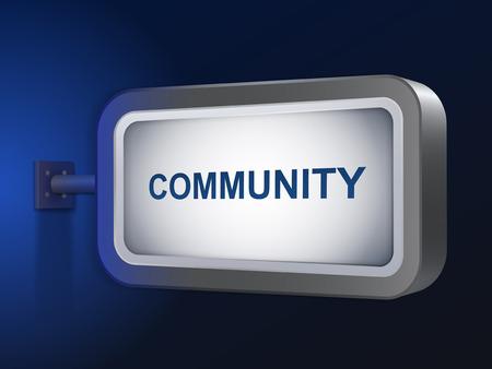 altogether: palabra comunidad en la cartelera sobre fondo azul