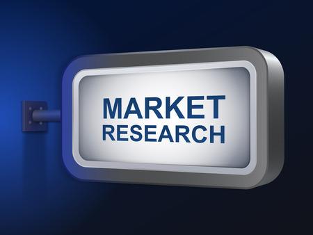 marktforschung: Marktforschungs Worte auf Billboard �ber blauen Hintergrund