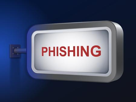 phishing: phishing word on billboard over blue background