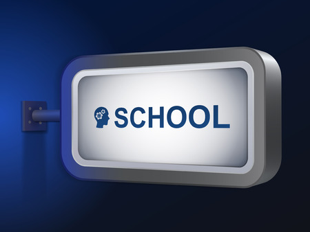 school word on billboard over blue background Vector