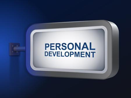 define: personal development words on billboard over blue background